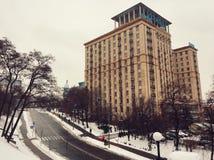 Hotel Ucrania, cuadrado de la independencia fotos de archivo libres de regalías