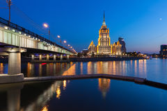 Hotel Ukraina, one of the Seven Sisters buildings at dusk, Moscow Stock Image