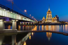 Hotel Ukraina, one of the Seven Sisters buildings at dusk, Moscow Stock Photography