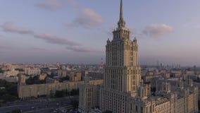 Hotel Ukraine and embankment stock video footage