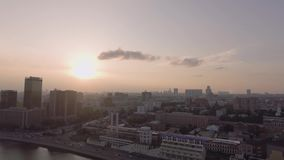 Hotel Ukraine and embankment stock video