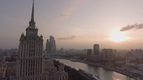 Hotel Ukraine and embankment stock footage