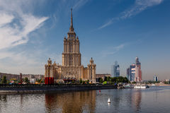 Hotel Ukraine and Moscow City in the Background, Moscow Stock Photography
