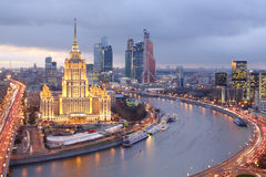 Hotel Ukraine and Moscow City business complex Royalty Free Stock Photography