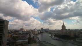 Hotel Ukraine in Moscow, Russia with moscow river timelaps panorama. Hotel Ukraine in Moscow, Russia with moscow river timelaps stock video