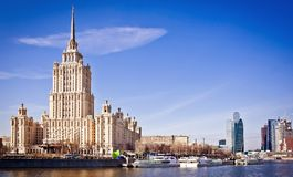 Hotel Ukraine from riverside in Moscow Stock Image