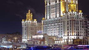Hotel Ukraine winter night timelapse hyperlapse stock video footage