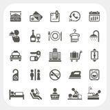 Hotel- und Hotel-Service-Ikonen eingestellt lizenzfreie abbildung