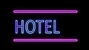 Hotel-und Pfeil-Leuchtreklame im Retrostil, der einschaltet stock abbildung