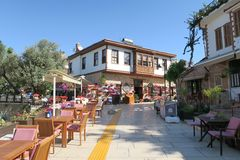 Hotel und Restaurant im Oldtown von Antalya, Kaleici Lizenzfreies Stockbild