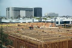 Hotel under construction in Los Angeles stock photo