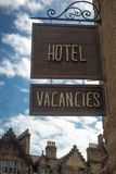 Hotel Vacancy Signs in the Old Town of Edinburgh, Scotland. Sign Outside a Hotel in the Historic Old Town Of Edinburgh, Scotland, UK Royalty Free Stock Image