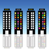 Hotel vector art illustration in blue Royalty Free Stock Image
