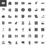 Hotel vector icons set. Modern solid symbol collection, filled style pictogram pack. Signs, logo illustration. Set includes icons as Double Bed Room, Mini bar Royalty Free Stock Photos