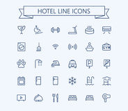 Hotel vector icons set. Thin line outline 24x24 Grid.Pixel Perfect royalty free illustration