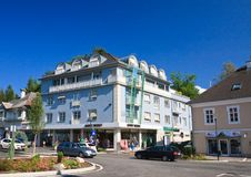 Hotel Velden morgens Worthersee sehen Österreich Lizenzfreies Stockbild