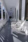 Hotel Veranda. Empty hotel veranda of resort hotel in wiinter royalty free stock image