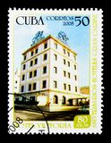 Hotel Victoria, Anniversary Hotels Gran Caribe serie, circa 2008. MOSCOW, RUSSIA - NOVEMBER 25, 2017: A stamp printed in Cuba shows Hotel Victoria, Anniversary stock image