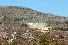 Hotel viejo de Tongariro del castillo francés en invierno Foto de archivo