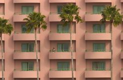Hotel view. Picture of a hotel with palm trees and a maid at the window Royalty Free Stock Image