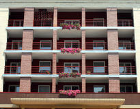 Hotel. A view of hotel balcony with flowers Stock Photo