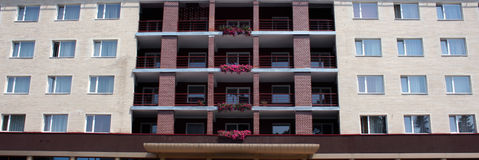 Hotel. A view of hotel balcony with flowers Royalty Free Stock Images