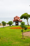 Hotel voor de betere inkomstklasse en het Uitnodigen Binnenplaats en tuin op Titikaka, Peru in Zuid-Amerika Royalty-vrije Stock Fotografie