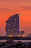 Hotel W in Barcelona. The hotel W Barcelona, also known as the Hotel vela sail hotel, located on the new entrance of Barcelona's Port, appears as a modern icon stock photos