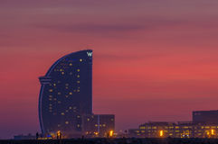 Hotel W in Barcelona. The hotel W Barcelona, also known as the Hotel vela sail hotel, located on the new entrance of Barcelona's Port, appears as a modern icon Stock Photo