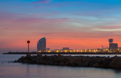 Hotel W in Barcelona. The hotel W Barcelona, also known as the Hotel vela sail hotel, located on the new entrance of Barcelona's Port, appears as a modern icon Royalty Free Stock Photo