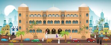Hotel w mieście (Arabia) royalty ilustracja