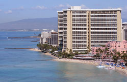 Hotel on Waikiki Beach, Hawaii, USA Royalty Free Stock Photo
