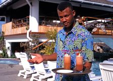 Hotel waiter, Tobago. Royalty Free Stock Photos