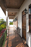 Hotel Walkway. An outdoor covered walkway in a small hotel in San Jose, Costa Rica Royalty Free Stock Photography