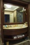 Hotel washroom. Washroom sink in luxury hotel - marble tiles Stock Images