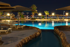 Hotel water pool at night Royalty Free Stock Image