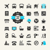Hotel web icon set. Hotel services - travel icons collection for web vector illustration