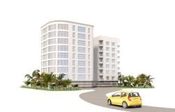Hotel on the white background. Hotel and car, white background Royalty Free Stock Images