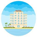 Hotel, a white hotel on the beach. Resort hotel. vector illustration