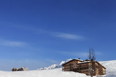 Hotel in winter mountains Royalty Free Stock Image