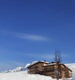 Hotel in winter mountains Stock Photos