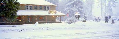 Hotel in winter snowstorm Stock Photos
