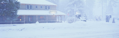 Hotel in winter snowstorm Royalty Free Stock Image