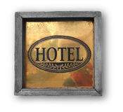 Hotel wooden plaque on the wall Stock Photos