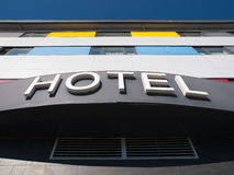 Hotel word in the facade of a Hotel Stock Image