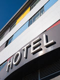 Hotel word in the facade of a Hotel Royalty Free Stock Photography