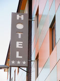 Hotel word in the facade of a Hotel Royalty Free Stock Images