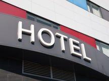 Hotel word in the facade of a Hotel Stock Photos