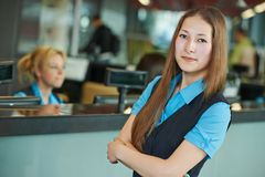 Hotel worker on reception Stock Image