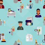 Hotel workers personal professional service man and woman job uniform objects hostel manager vector illustration. Receptionist travel tourism household tools Stock Images